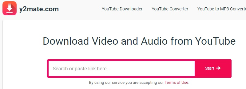 download youtube y2mate step1