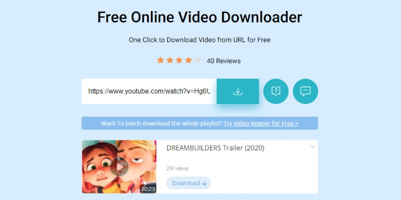 paste url to download video