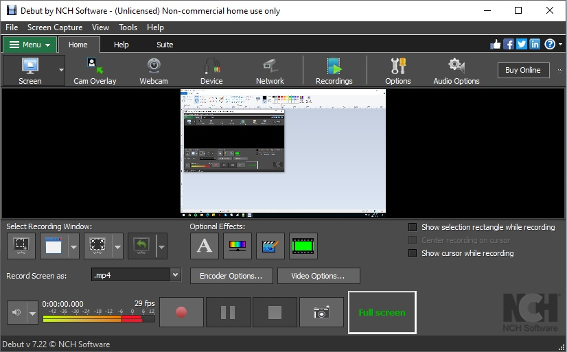 br debut interface best screen recorder