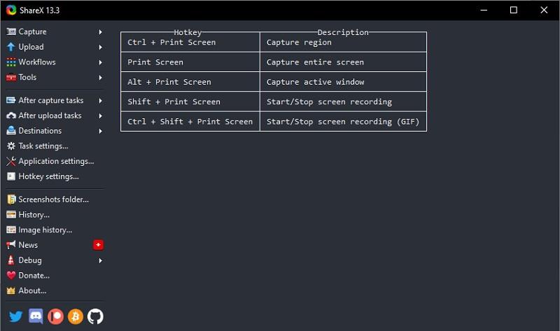 sharex interface