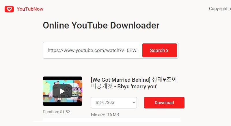 download using Youtubnow