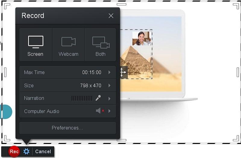 screen o matic main interface